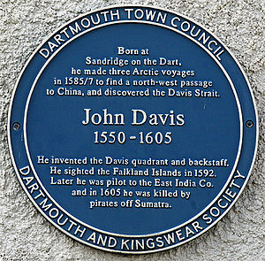 John Davis (English explorer) - The Dartmouth Town Council blue plaque erected in memory of Davis