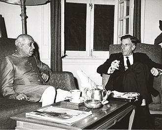 Sino-Indian War - U.S. Ambassador to India John Kenneth Galbraith and Prime Minister Nehru conferring at the time of the conflict. This photograph was taken by the United States Information Service (USIS) and sent to President John F. Kennedy with a letter from Galbraith dated 9 November 1962.
