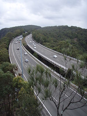 Road transport in Australia - The M1 Pacific Motorway is the major road transport link between the cities of Sydney and Brisbane.