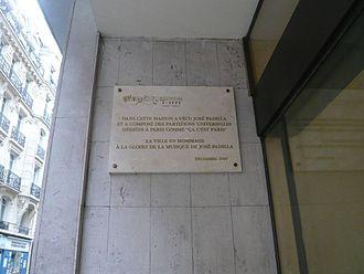 José Padilla (composer) - Commemorative plaque 10, rue Pergolèse in Paris