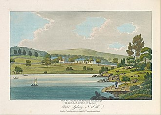 Aquatint - Joseph Lycett, The residence of Edward Riley Esquire, Wooloomooloo, Near Sydney N. S. W., 1825, hand-coloured aquatint and etching printed in dark blue ink.  Australian print in the tradition of British decorative production.  The artist had been transported for forging bank notes.