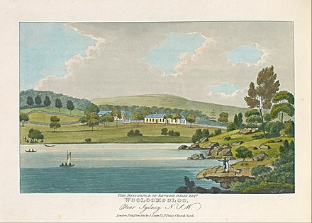 Joseph Lycett, an artist transported for forging bank notes, The residence of Edward Riley Esquire, Wooloomooloo, Near Sydney N. S. W., 1825, hand-coloured aquatint and etching printed in dark blue ink. Australian print in the tradition of British decorative production.