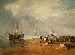 Market town - The Fish Market at Hastings Beach by Joseph Mallord William Turner, 1810