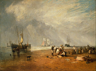 Hastings - The Fish Market at Hastings Beach, Turner (1810)