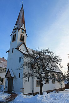 Jugendstilkiche von Aichelberg im Winter / la iglesia de Aichelberg en invierno / church of Aichelberg in winter