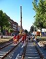 Jugoslávských partyzánů, rekonstrukce trati, práce s jeřábem.jpg