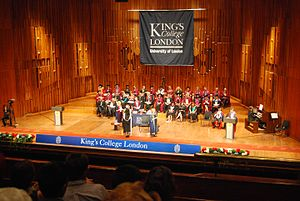 Academic ranks in the United Kingdom - Academics of King's College London of University of London, ranging from professors to lecturers, in their academic regalia during a graduation ceremony.
