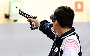 Steyr LP 10 - Triple Olympic champion Jin Jong-oh with his Steyr LP10E competing at the 2012 Summer Olympics