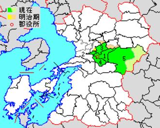 Kamimashiki District, Kumamoto - Location of Kamimashiki District in Kumamoto Prefecture