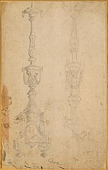 Two designs for a candlestick