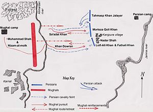 Battle of Karnal - A diagram of the battle of Karnal in its entirety based on Axworthy's The Sword of Persia.
