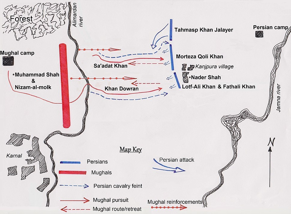 Karnal battle based on Axworthy's interpretation