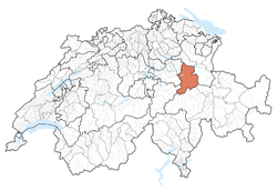 Cairt o Swisserland, location o Glarus highlighted