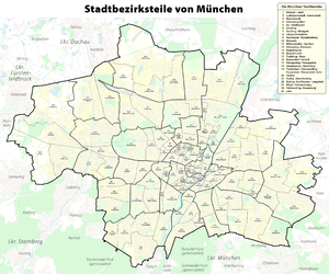 münchen stadtteile karte Liste der Stadtteile Münchens – Wikipedia