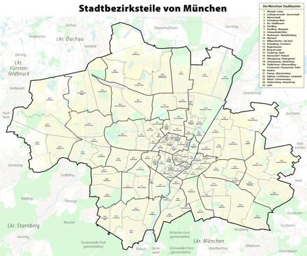 Postleitzahlen München Karte.Stadtbezirke Münchens Wikipedia