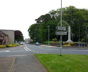 Kemnay - Kemnay, war memorial and main street