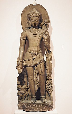 Pyu city-states - Avalokiteśvara holding a lotus flower. Bihar, 9th century, CE. The Pyu followed a mix of religious traditions.