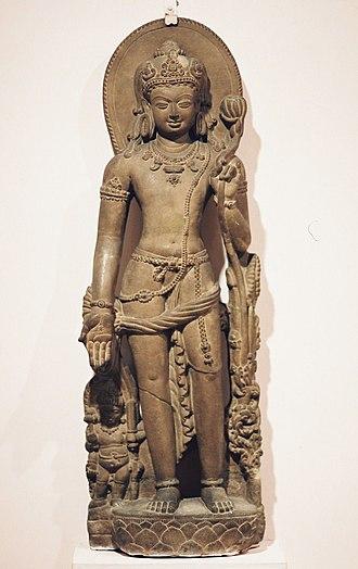 Avalokiteśvara - Avalokiteśvara holding a lotus flower. Nālandā, Bihar, India, 9th century CE.