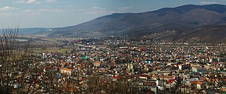 Khust - Panorama of Khust from the Castle Hill