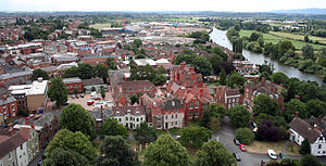 King's School, Worcester - View of the school from the cathedral tower (photo Bob Embleton)
