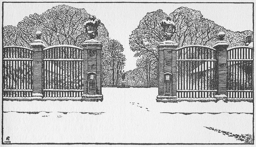 Illustration de l'entrée du parc de Frederiksberg à Copenhague par Kristian Kongstad (1914)