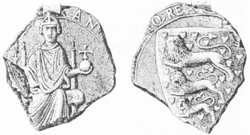 The earliest known example of the Danish arms, the seal of Canute VI, 1190s. The only known copy of this insignia was discovered in 1879 in the Grand Ducal archive of Mecklenburg-Schwerin, Germany. Note the king's closed crown which differs from the open crowns shown on the seals of his successors.