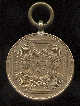 War Commemorative Medal of 1870/71 - Image: Kriegsdenkmünze 1870 1871, Kämpfer, hinten