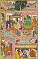 Kusha and lava recite Ramayana in court of Rama.jpg
