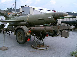 Military on Gotland - Swedish coastal missile Saab Robot 08 (Kustrobot 08) at the museum at Gotland Coastal Artillery Regiment KA 3 in Fårösund, Sweden