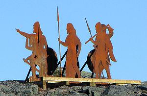 Anne Stine Ingstad - Norse statues installed above L'Anse aux Meadows Historical Site, Newfoundland and Labrador