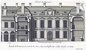 Hôtel de Chevreuse - Image: L'Architecture française (Marot) Bn F RES V 371 037r f 81 Hôtel de Chevreuse au faubourg Saint Germain, Face du côté de la cour avec ses profils des ailes (adjusted)