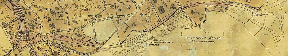 """Långængsbanens strækning og trafikreservat (T) på del af byplanerne for Træstubsundes købstad, 1933.   Læg mærke til at trafikreservatet fortsætter efter """"Långängens anhalt""""."""