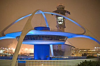 The theme restaurant and control tower at Los ...