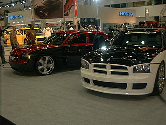 LA Auto Show - Two Dodge Chargers in the Dodge exhibit at the January 2006 LA Auto Show