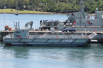Canberra-class landing helicopter dock - LHD Landing Craft L4408 (with a second LCC berthed behind it)