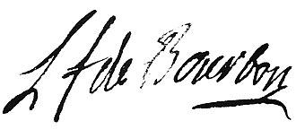 Louis François, Prince of Conti - Image: LF Bourbon Conti Unterschrift AN MC ET XCII 611