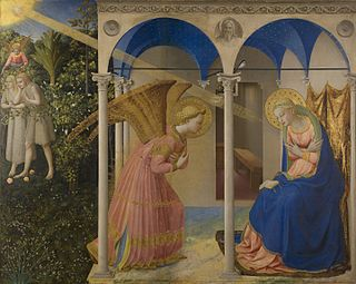 panel-painting altarpiece or retable by Fra Angelico in the Prado