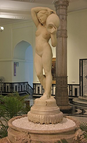 The Source (Ingres) - The marble statue based on The Source (Ingres). This exhibit was specially commissioned by Dorabji Tata and presented to the Prince of Wales Museum, Mumbai where it is on display.