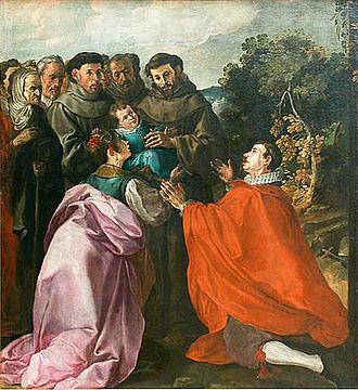 Francisco Herrera the Elder - La curación de San Buenaventura niño por San Francisco (1628).