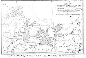 Lake Duluth - Map of Prehistoric lakes in the Great Lakes Basin at the end of the Wisconsin Ice Epoch