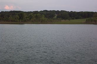 Lake Texoma - The Oklahoma shores slope toward the water's edge