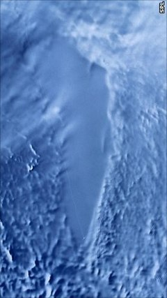 Lake Vostok - When photographed from space by radar, Lake Vostok can be seen as a flat area inside the ice sheet. (NASA GSFC)