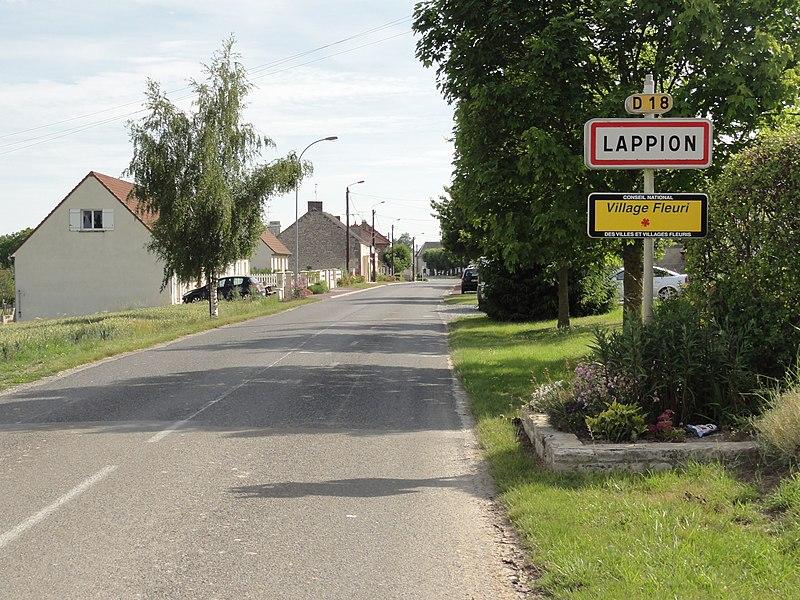 Lappion (Aisne) city limit sign