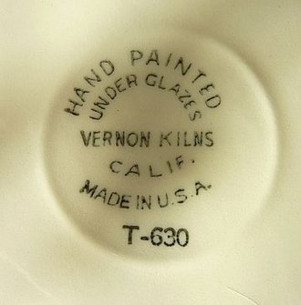 Vernon Kilns - Large Bowl - Maker's Mark.