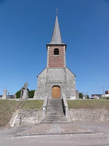 Larrouillies (Nord, Fr) église, façade