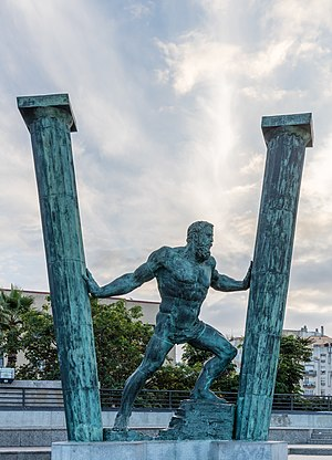 Sculpture of The Pillars of Hercules: Abyla and Calpe, Ceuta, Spain.