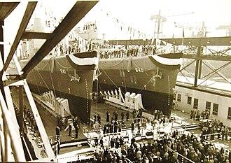 "USS Beatty (DD-640) - Dual launch of ""Beatty"" and Tillman"