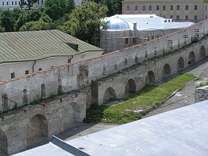 Pechersk Lavra fortification - Lavra fortification walls seen from above.