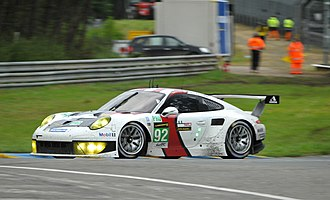 2013 24 Hours of Le Mans - The No. 92 Porsche 991 of Marc Lieb, Richard Lietz and Romain Dumas won the LMGTE Pro class.