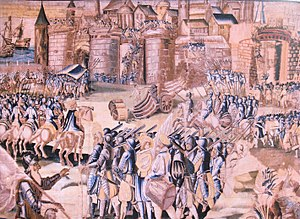 "Henry III of France - The Siege of La Rochelle by the Duke of Anjou in 1573 (""History of Henry III"" tapestry, completed in 1623)"
